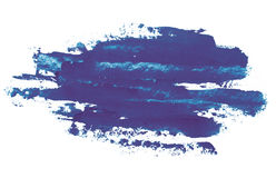 Aquarell, Gouachefarbe Blaue abstrakte Flecke plätschern spritzt mit rauer Beschaffenheit Stockfotos