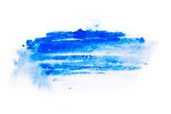 Aquarell, Gouachefarbe Blaue abstrakte Flecke plätschern spritzt mit rauer Beschaffenheit Stockbild