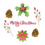 Aquarell-Grußkarte der frohen Weihnachten Designschablone für Weihnachten Feiertagsblumenmuster Auch im corel abgehobenen Betrag stock abbildung