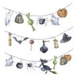 Aquarell-Halloween-Girlande Handgemalte Halloween-Symbole lokalisiert auf weißem Hintergrund Kürbis, Hexe, Süßigkeit, Spinne vektor abbildung