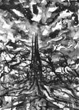 Aquarell-Halloween-Hintergrund mit dunklem altem gruseligem Schloss im Holz vektor abbildung