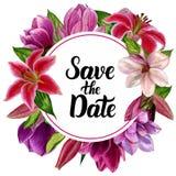 Aquarell handgemacht, ein Kranz mit Blumen Für das Design Ihrer Einladungen zur Hochzeit lizenzfreie stockfotografie