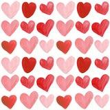 Aquarell-Handgezogene Herz-nahtloser Muster-Hintergrund stock abbildung