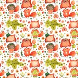 Aquarell-Handgezogener Fuchs-Hintergrund-nahtloses Muster-Kinderthema lizenzfreie abbildung