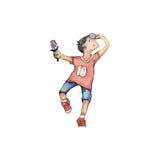 Aquarell-hochauflösende Illustration: Glückliche Game Boy vektor abbildung
