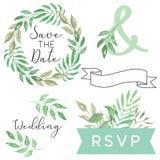 Aquarell-Hochzeits-Laub-Abwehr das Datum lässt Blatt-Rollen-Fahnen-Kranz Clipart lizenzfreie abbildung