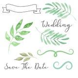 Aquarell-Hochzeits-Laub-Abwehr das Datum lässt Blatt-Rollen-Fahnen-Kranz Clipart stock abbildung