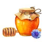 Aquarell-Honigglas und Honigstock Stockbilder