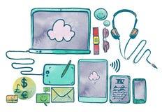 Aquarell-Illustration von Kommunikationstechnologie-Geräten Lizenzfreies Stockbild
