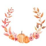 Aquarell-Kürbis Autumn Wreath Garland Frame Fall verlässt Kreis-Blumen Berry Leaf Stockbild