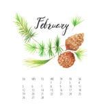 Aquarell-Kalenderschablone für Februar 2017-Jahr lizenzfreie abbildung