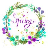 Aquarell-Kranz Blumenrahmendesign mit Textfrühling stock abbildung