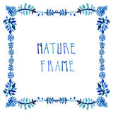 Aquarell lässt Vektor blauen Rahmen mit handgeschriebenem Text Stockfotos