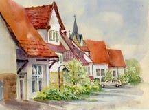 Aquarell-Landschaftssammlung: Dorf-Leben Stockbild
