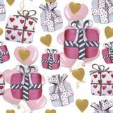 Aquarell-Liebesmuster für Valentinstag stock abbildung