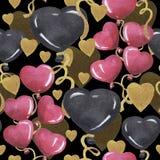 Aquarell-Liebesmuster für Valentinstag lizenzfreie abbildung