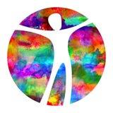 Aquarell-Logo Modern-Mann Zeichen von Psychologie Mensch in einem Kreis Kreative Art Ikone herein Konzept des Entwurfes marke lizenzfreie abbildung