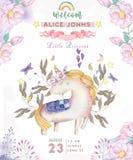 Aquarell lokalisiertes nettes Aquarelleinhorn clipart Kindertagesstätteneinhornillustration Prinzessineinhornplakat Modische rosa lizenzfreie abbildung