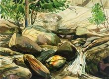 Aquarell malend bunt vom Wasserfall, Felsenklippe, im Wald