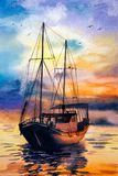 Aquarell-Malerei - Boote stock abbildung