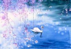 Aquarell-Malerei - Schwan lizenzfreie abbildung