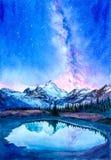 Aquarell-Malerei - sternenklare Nacht mit Galaxie lizenzfreie abbildung