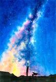 Aquarell-Malerei - sternenklare Nacht mit Galaxie lizenzfreie stockfotos
