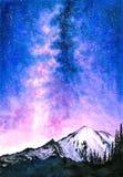 Aquarell-Malerei - sternenklare Nacht mit Galaxie lizenzfreies stockfoto