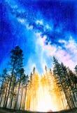 Aquarell-Malerei - sternenklare Nacht mit Galaxie lizenzfreie stockbilder