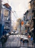 Aquarell-Malerei - Street View von Paris vektor abbildung