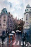 Aquarell-Malerei - Street View von Paris lizenzfreie abbildung
