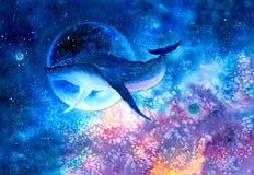 Aquarell-Malerei - Wal mit Galaxiehimmel vektor abbildung