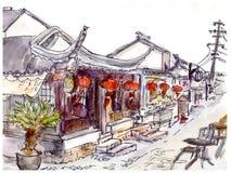 Aquarell malte chinesische alte Stadt, Café und rote Laternen Stock Abbildung