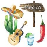 Aquarell-Mexiko-Ikonen Lizenzfreie Stockfotografie