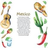 Aquarell-Mexiko-Ikonen Lizenzfreies Stockbild