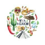 Aquarell-Mexiko-Ikonen Stockbild