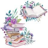 Aquarell mit Blumen und Naturelemente mit schönen alten Büchern vektor abbildung