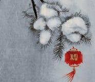 Aquarell mit roter chinesischer Laterne stockbild