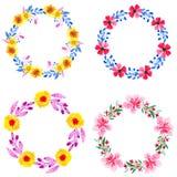 Aquarell mit vier Kränzen mit Blumen stock abbildung