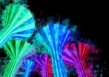 Aquarell-Nachtzeit belichtete Wasserturm-Marksteine von Kuwa Lizenzfreie Stockfotografie