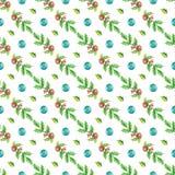 Aquarell-nahtloser Weihnachtshintergrund Stockfotos