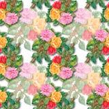 Aquarell-nahtloses Muster mit Rosen Lizenzfreie Stockfotografie