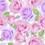 Aquarell-nahtloses Muster mit Rosen Stockbild