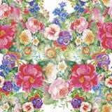 Aquarell-nahtloses Muster mit Rosen Hintergrund für Webseiten, Heiratseinladungen, speichern die Datumskarten Stockfoto