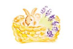 Aquarell-Ostern-Kaninchen Stockbild