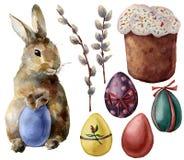 Aquarell-Ostern-Symbolsatz mit Eiern und Häschen Handgemalte Farbe ärgert, Pussyweidenniederlassung, Ostern-Kuchen, Kaninchen Stockbilder