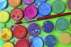 Aquarell-Palette Stockfotos