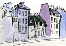 Aquarell-Paris-Zeichnung Lizenzfreie Stockbilder