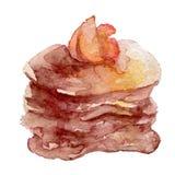 Aquarell-Pfannkuchen mit Früchten und Ahornsirup Lizenzfreie Stockfotografie