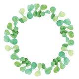 Aquarell-Rahmen mit grünen Blättern Stockbilder